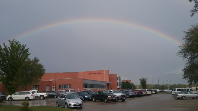 A rainbow shines over North on fall conference night in October.
